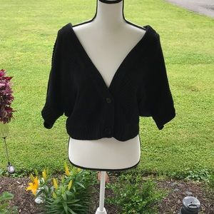 XL Worthington Solid Black Short Sweater Coverup